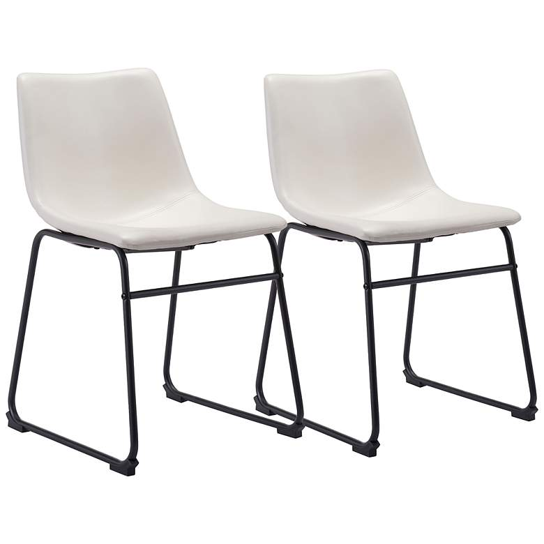 Zuo Smart White Faux Leather Dining Chairs Set of 2