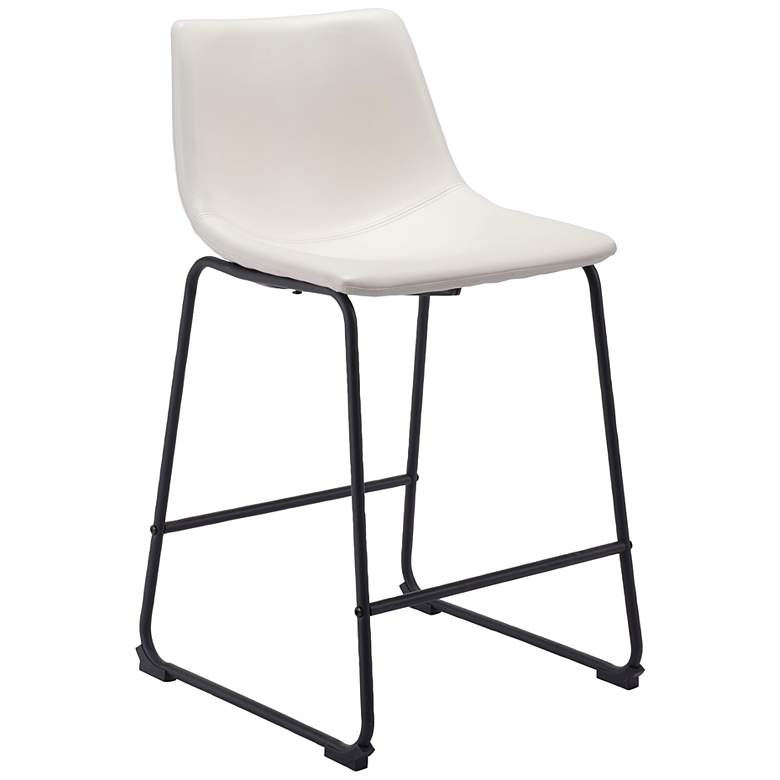 """Zuo Smart 24 1/4"""" White Faux Leather Counter Stool"""