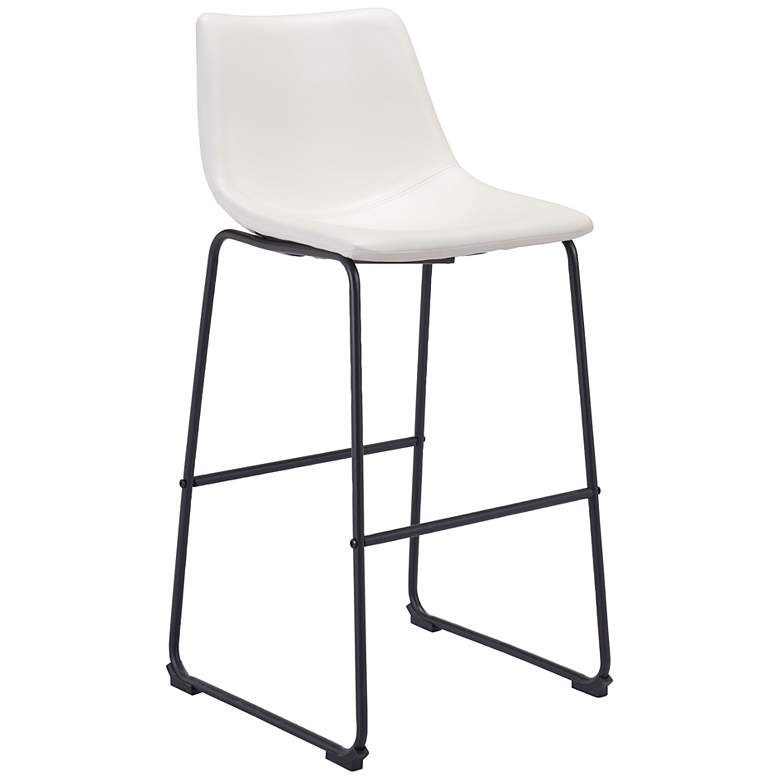 """Zuo Smart 29"""" Distressed White Faux Leather Bar Stool"""