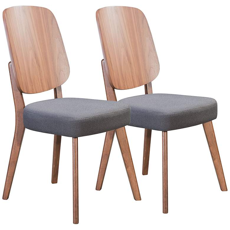 Alberta Dark Gray Fabric and Walnut Dining Chairs Set of 2