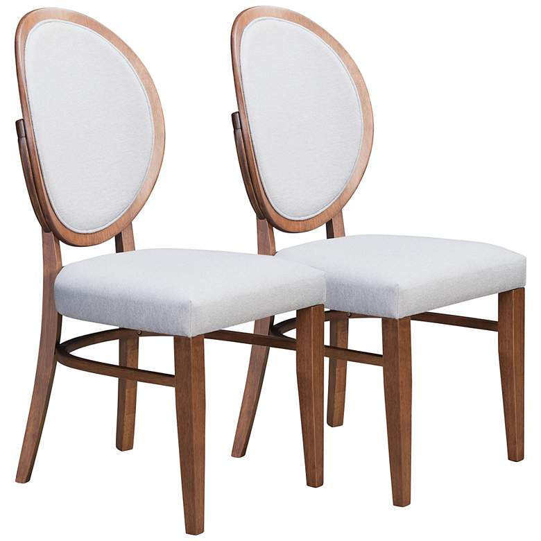 Zuo Regents Gray Fabric and Walnut Dining Chairs Set of 2