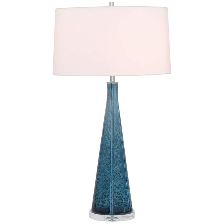 Port 68 London Smoke Blue Reactive Art Glass Table Lamp