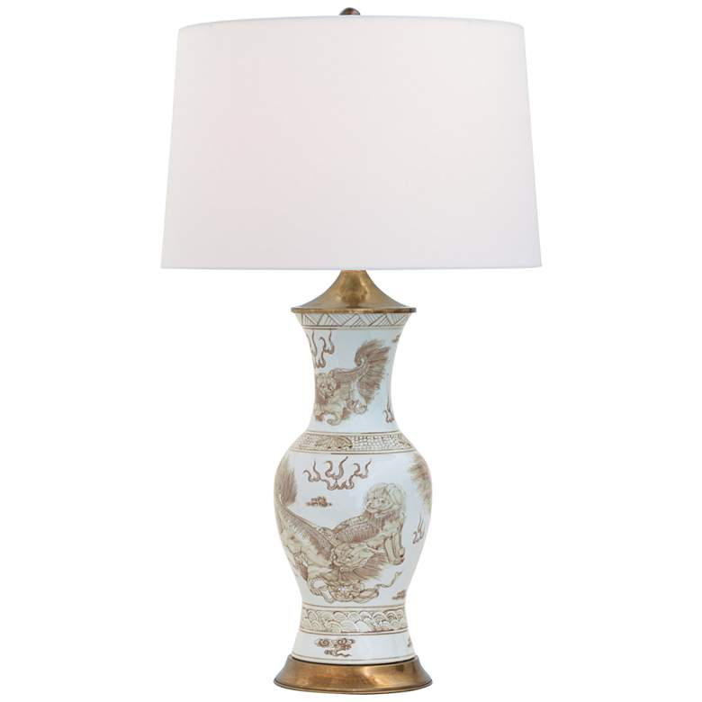Port 68 Chow Brown Porcelain Foo Dogs Vase Table Lamp
