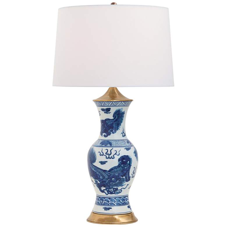 Port 68 Chow Blue White Porcelain Foo Dogs Vase Table Lamp