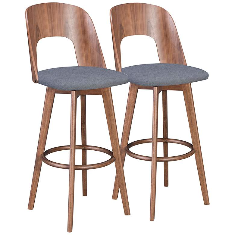 "Zuo Anton 31 1/4"" Dark Gray Fabric Bar Stools Set of 2"