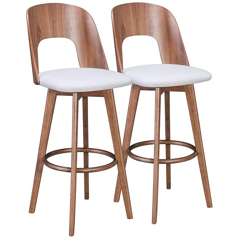 "Zuo Anton 31 1/4"" Light Gray Fabric Bar Stools Set of 2"