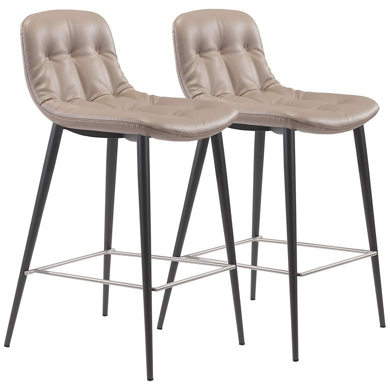 """Zuo Tangiers 26 1/2"""" Taupe Tufted Counter Stools Set of 2"""