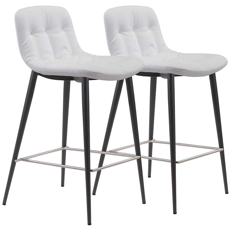 """Zuo Tangiers 26 1/2"""" White Tufted Counter Stools Set of 2"""