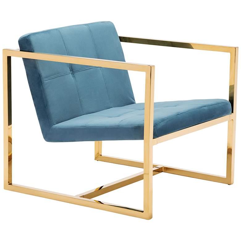 Zuo Alt Bright Blue Velvet Tufted Armchair