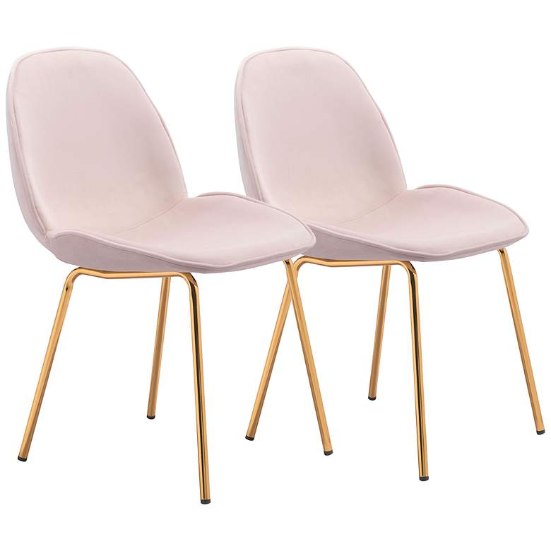 Zuo Siena Rose Pink Fabric Dining Chairs Set of 2