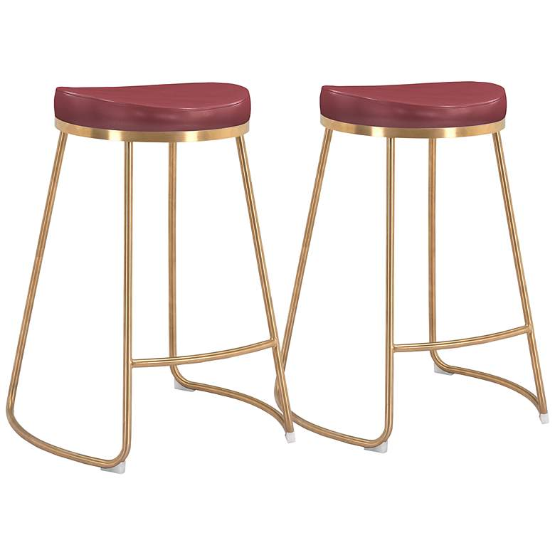 """Bree 26 1/4"""" Burgundy Faux Leather Counter Stools Set of 2"""