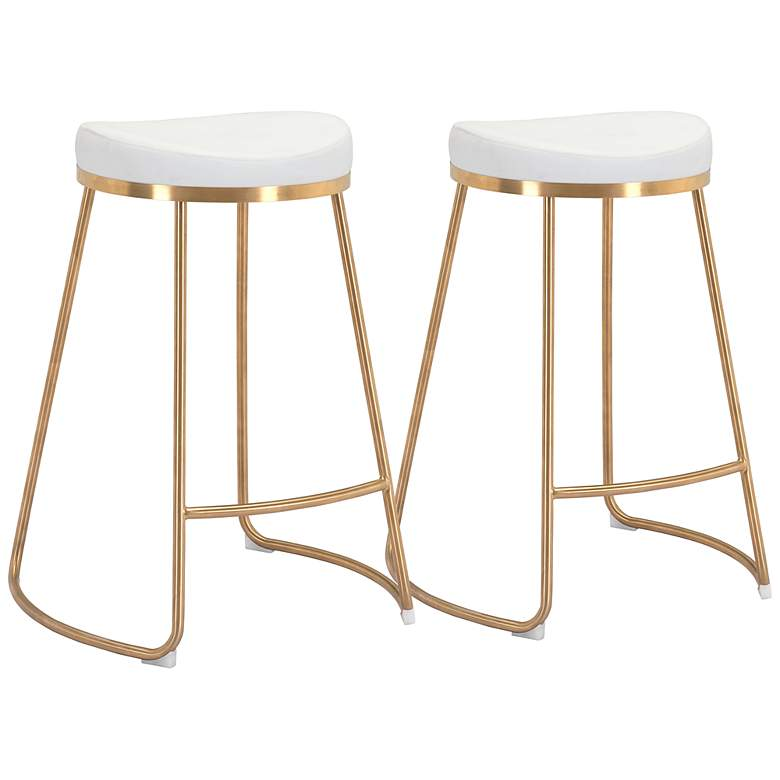 """Zuo Bree 26 1/4"""" White Faux Leather Counter Stools Set of 2"""