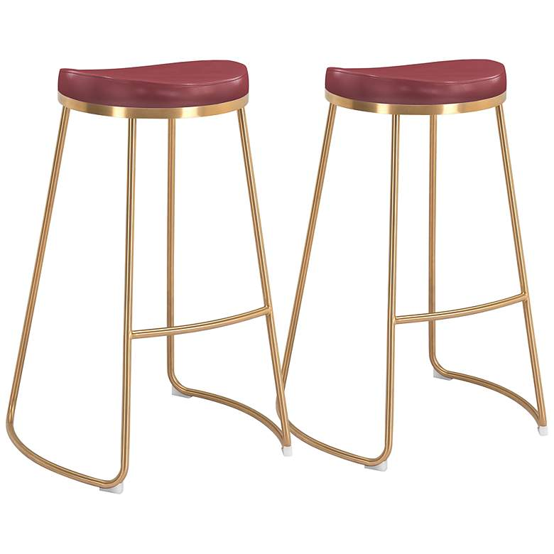 """Zuo Bree 30 1/2"""" Burgundy Faux Leather Bar Stools Set of 2"""