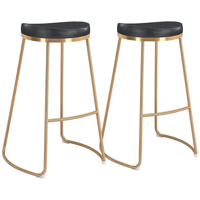 "Zuo Bree 30 1/2"" Black Faux Leather Bar Stools Set of 2"
