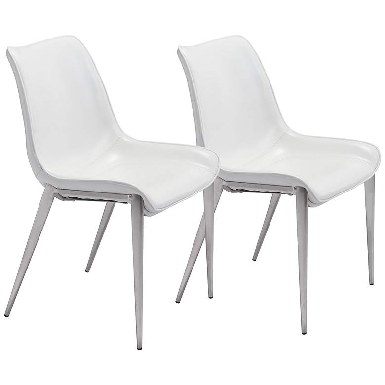 Zuo Magnus White Faux Leather Dining Chairs Set of 2