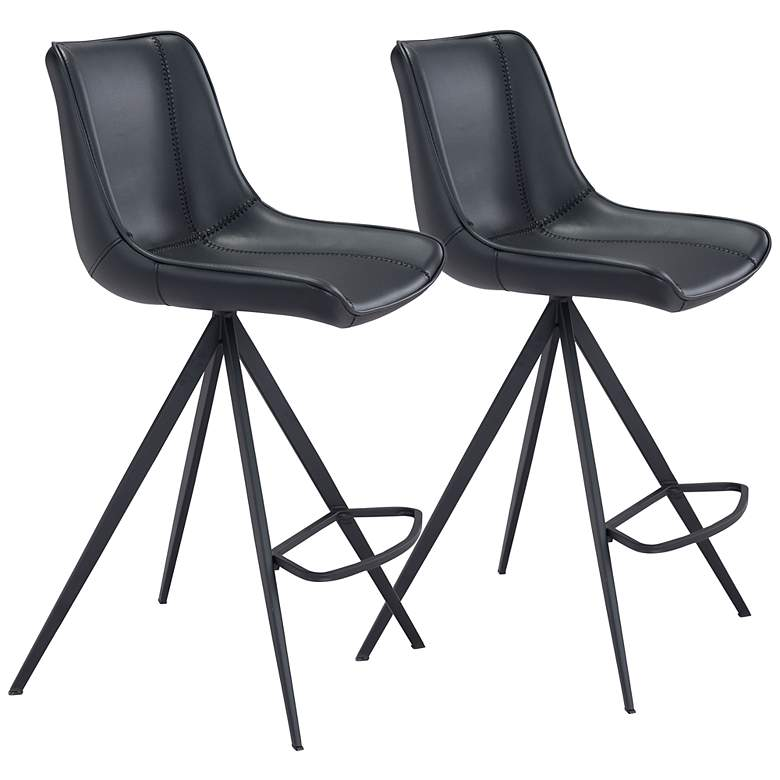 """Zuo Aki 26"""" Black Faux Leather Counter Stools Set of 2"""