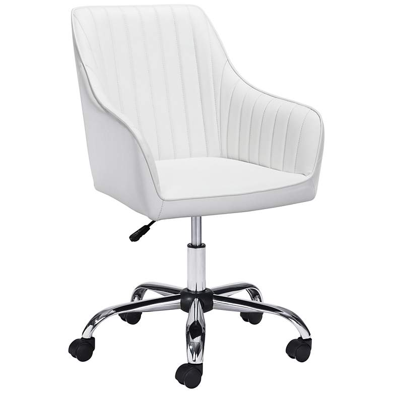 Curator White Faux Leather Adjustable Swivel Office Chair