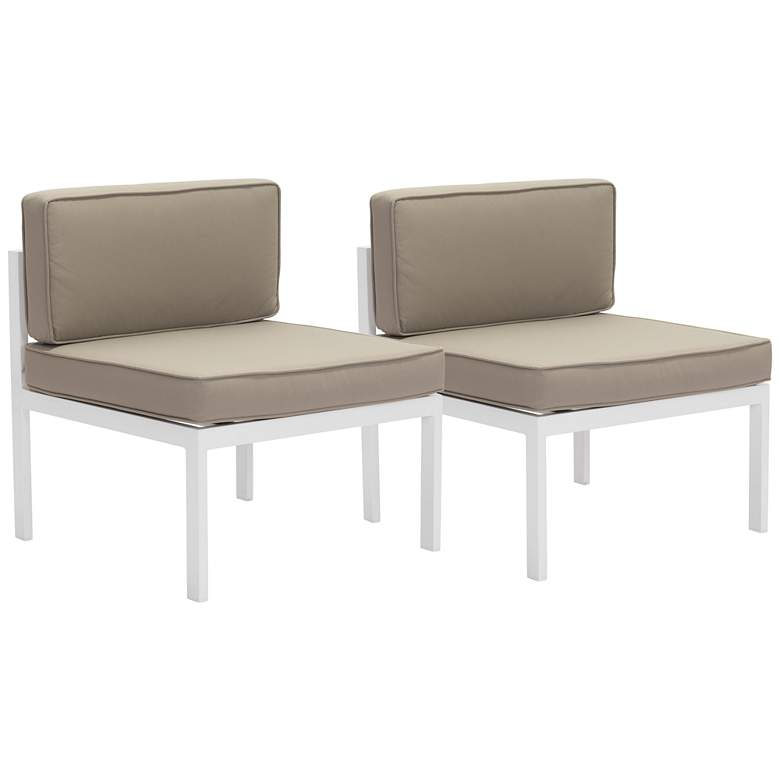 Zuo Golden Beach Taupe Fabric Outdoor Middle Chair