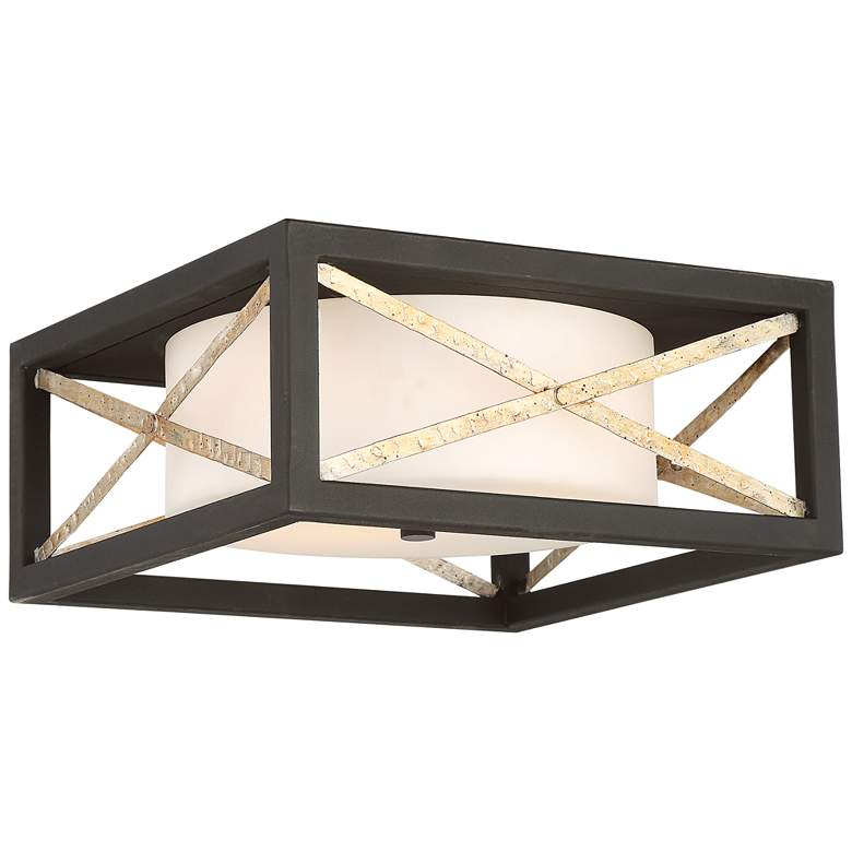 """Boxer 14"""" Wide Matte Black and Antique Silver Square Ceiling Light"""
