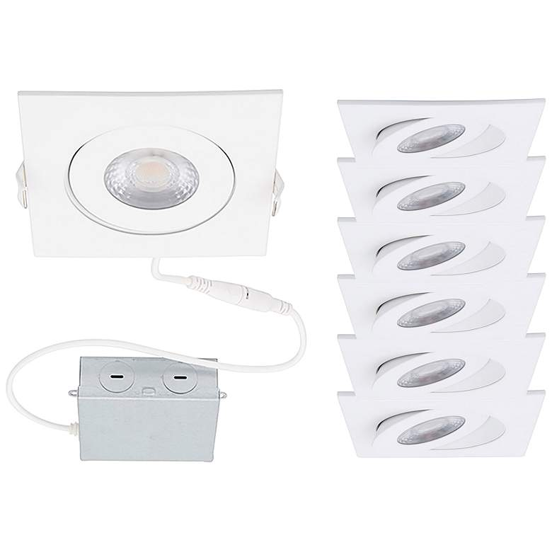 """Lotos 4"""" White Square Adjustable LED Recessed Kits Set of 6"""