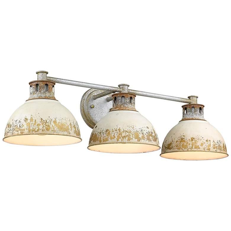 "Kinsley 29"" Wide Steel and Antique Ivory 3-Light Bath Light"