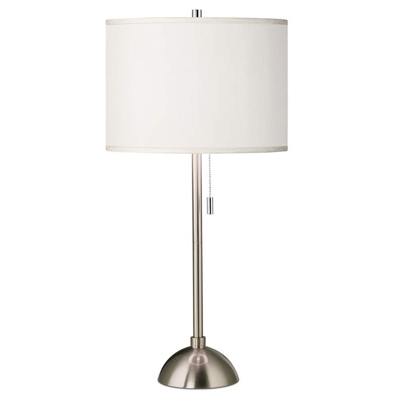 Cream Faux Silk and Brushed Nickel Modern Table Lamp
