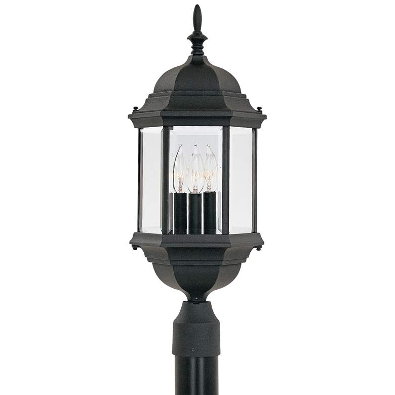 """Devonshire 23 1/2""""H Clear Glass Black Outdoor Post Light"""