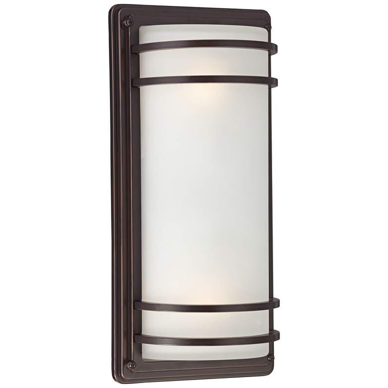 """Habitat 16"""" High Bronze and Opal Glass Outdoor Wall Light"""