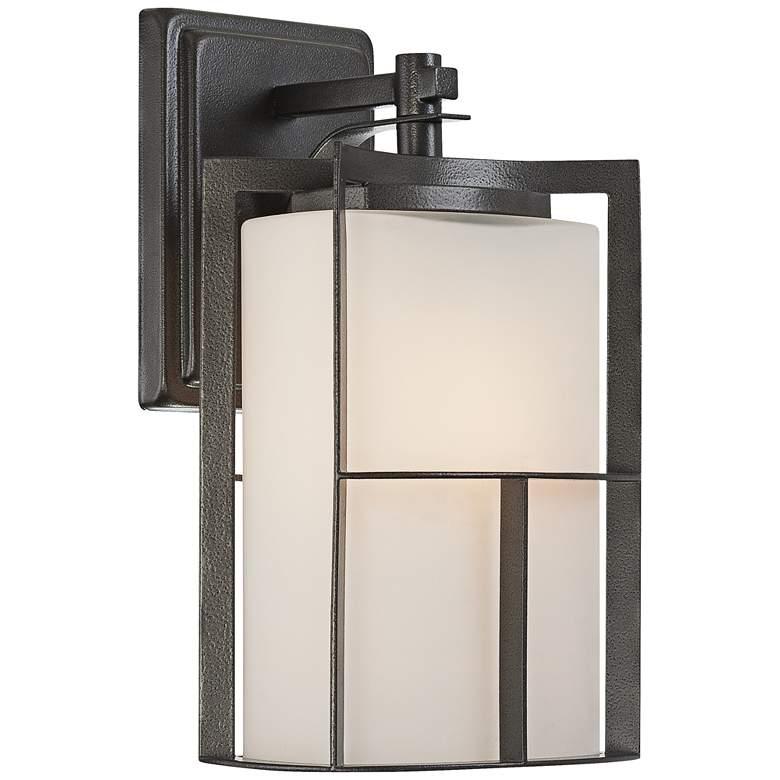 "Braxton 13"" High Frost Glass Charcoal Outdoor Wall Light"