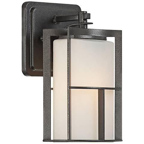 "Braxton 9 1/4""H Frost Glass Charcoal Outdoor Wall Light"