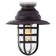 Country cottage outdoor fan light kits lamps plus marlowe bronze hooded metal cage ceiling fan light kit aloadofball Choice Image