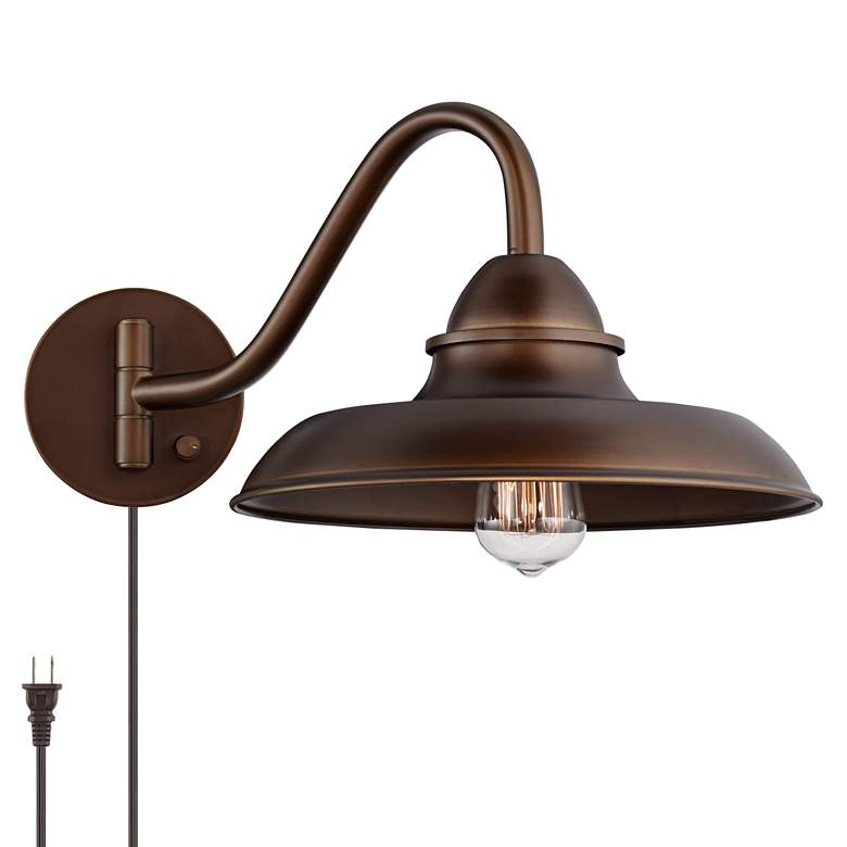 """Bowdon Bronze 10""""H Indoor Plug-In Swing Arm Sconce with Edison Bulb"""