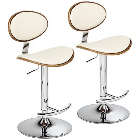 Torrioni Cream Leather Adjustable Swivel Bar Stools Set of 2