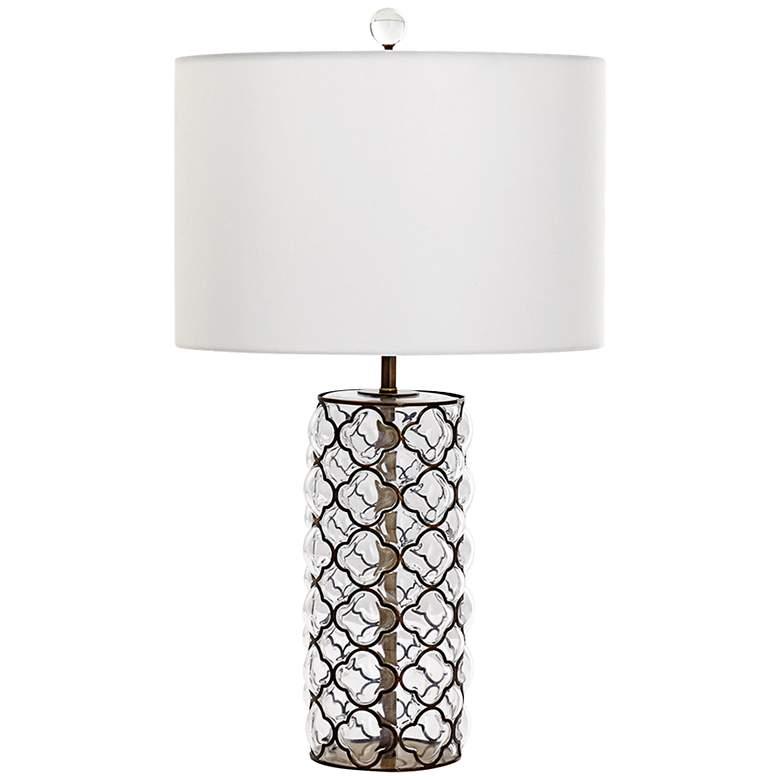 Corsica Small Iron Lattice Overlay Clear Glass Table Lamp