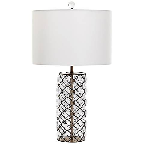 Corsica Small Iron Lattice Overlay Clear Glass Table Lamp