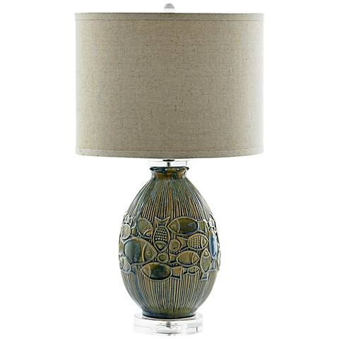 Piscene Coastal Relief Blue Ceramic Table Lamp