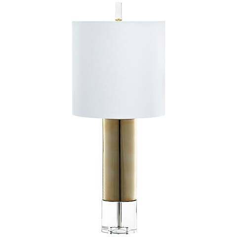 Sonora Tri-Tone Cylinder Gold Ceramic Table Lamp