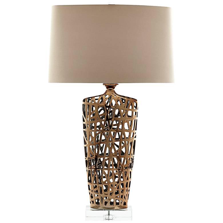 Eleuthera Bottle-Weave Gold Ceramic Table Lamp