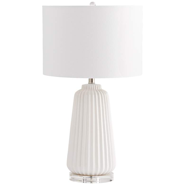 Delphine Double-White Ridged Ceramic Table Lamp
