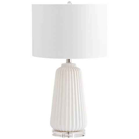 Delphine Double-White Ridged Ceramic Table Lamp