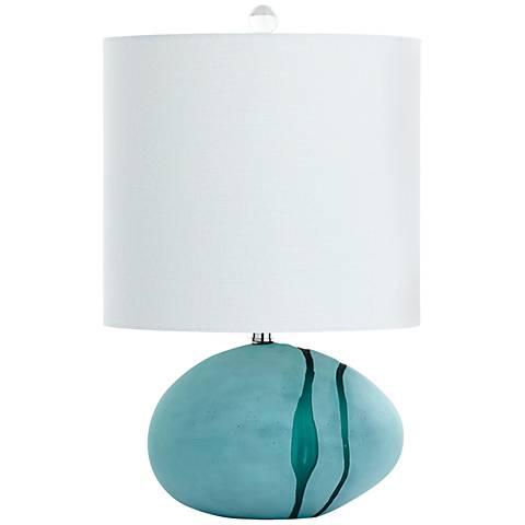 Terza Small Sea-Green Glass 3-Light Table Lamp