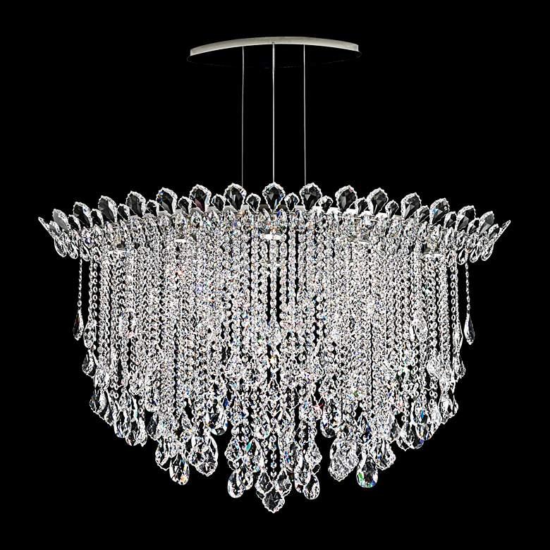 """Schonbek Trilliane Strands 45"""" Wide Oval Crystal Pendant Light"""