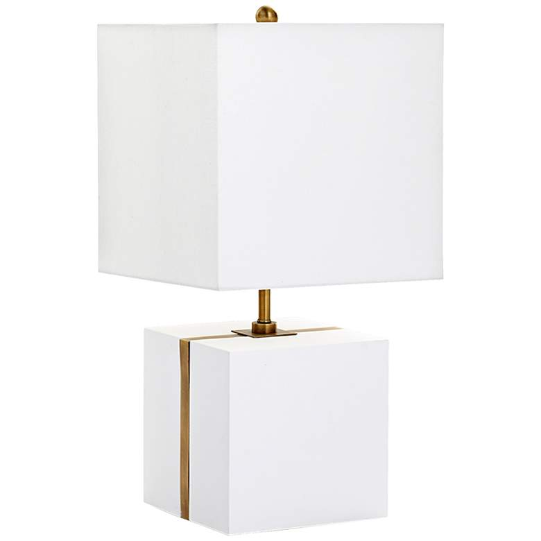 Neso Square Brass Stripe White Plaster Table Lamp