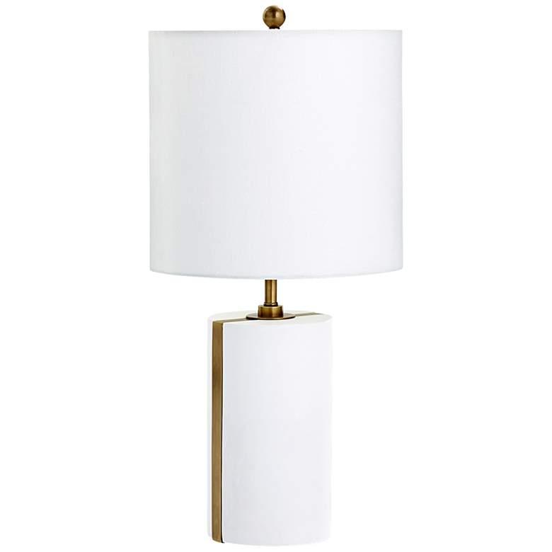 Cylindro Brass Stripe White Plaster Table Lamp