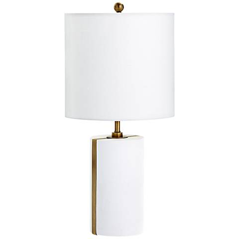 Cylindro Brass Stripe White Plaster Table Lamp