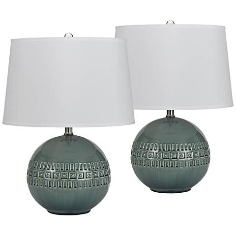 Mineola Slate Blue Ceramic Accent Table Lamp Set of 2