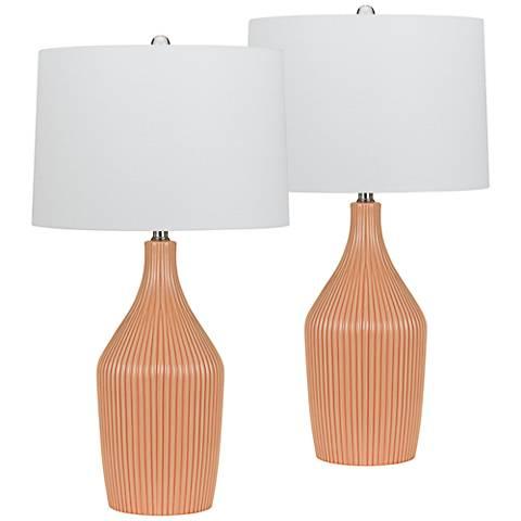 Saranac Pale Pink Ribbed Ceramic Table Lamp Set of 2