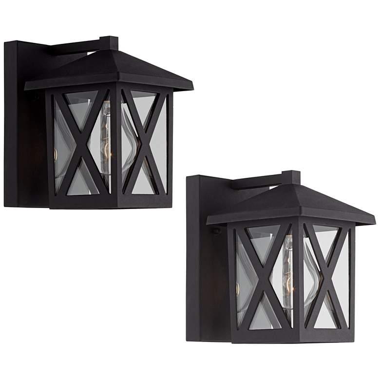 "Elkins 7 1/2"" High Black Outdoor Wall Lights Set of 2"