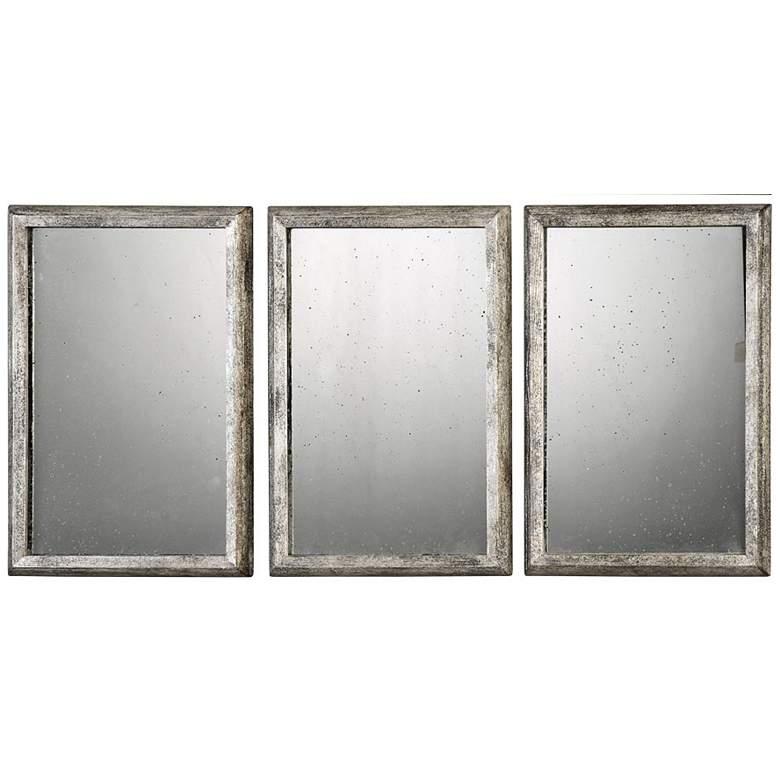 "Alcona Silver 13 3/4"" x 19 3/4"" Wall Mirrors Set of 3"