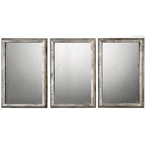 "Uttermost Alcona Silver 13 3/4"" x 19 3/4"" Mirror Set of 3"
